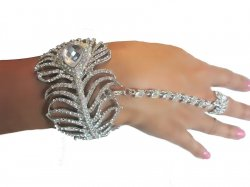 Rhinestone Peacock Slave Hand Bracelet 3 in one Ring Bracelet