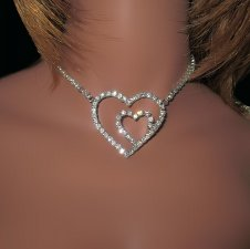 Ornate Double Heart Rhinestone Necklace Choker adjustable