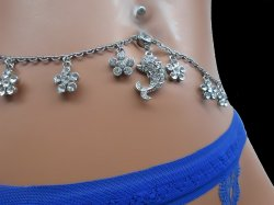 Rhinestone DOLPHIN Floral Navel Adjustable Belly Heart Chain