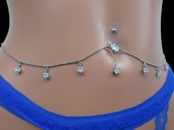 ShootingStar Rhinestone Navel Adjustable Belly TinyThinBallChain