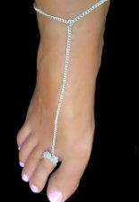 Color Beaded Cluster Toe Ring Barefoot SP Anklets Pastel Colors