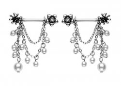 Flower Rhinestone Studded Dangling Pearls Nipple Bars 14g