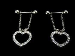 Gold gp Rhinestone Heart Dangle Nipple Pierced 14g Pairs USA