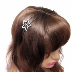 Rhinestone Heart or Star Black Wire Headbands Fun Sparkle Cute
