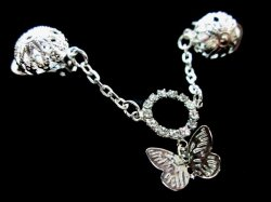 Gorgeous Silver sp Butterfly Rhinestone Circle Puffed Body Clip