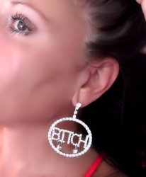 Bitch Word Rhinestone Round Earrings Rhinestone Dangle Bold SP