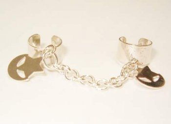 .925 Sterling Silver Labia Clit Chain Moon & Star NO pierce