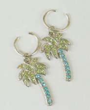 Palm Tree Sterling Crystal Rhinestone Nipple Clips Pair