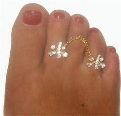 Butterfly duo gorgeous crystal attched double toe ring gems pink
