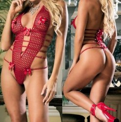 Foxy Sexy Exotic Red Ribbions Bows FishNet