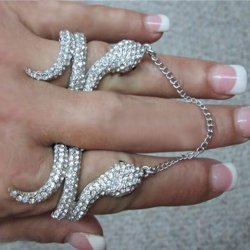 SEXY Rhiana Double Snake RhinestoneAttach One Size Rings Hands D