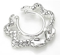Hot and Sexy Nipple Shield Double Snakes on a Nipple Pewter
