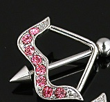 Pink Arrow Rhinestone Crystal Diva Nipple Sheild